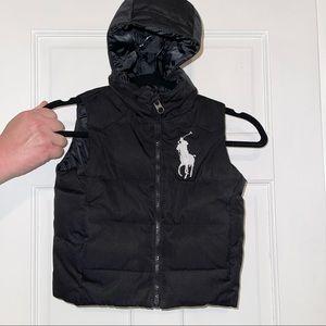 Polo Ralph Lauren hooded black sleeveless down puffer winter jacket size 3/3T